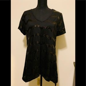 Double Take Tops - Double-Take Black Sequin V-neck Tee